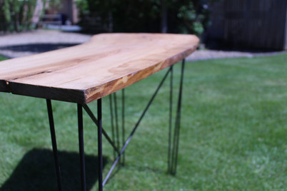 Bespoke Hairpin Metal Table Frame with Living Edge Wood Top