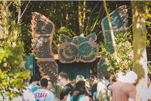 Festival Stage with Custom Owl Design and Timber Frame Construction