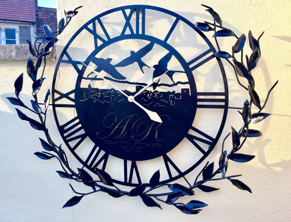 Artisan Clock and Custom Olive Branch Surround Sculpture