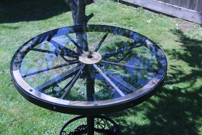 Custom Waggon Wheel Table with Bespoke Iron Frame