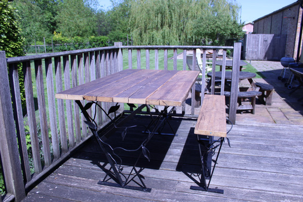 Bespoke Garden Table with Indiustrial Metal Frame Table and Bench with Natural Vines and Leaves