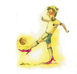 Her mit der Million, Fußballschuhe, Illustration Marie Hübner