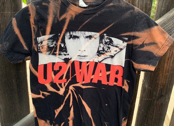 U2 War Distressed Bleached Splatter Tie Dye Short Sleeve