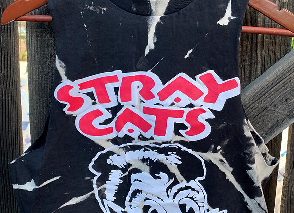 Stray Cats Logo Crop Top, Tie Dye Muscle Tee Sz. S