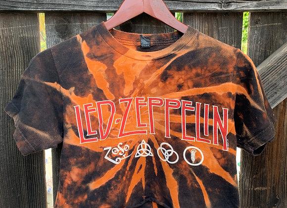 Led Zeppelin Bleached Tie Dye Cropped Top Sz. S