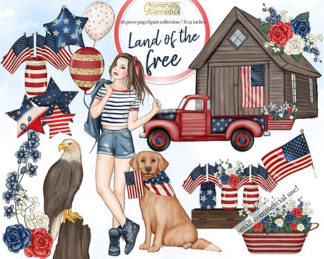 Land of the free - 4th of july fashion clipart collection