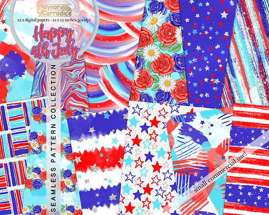 Happy 4th July digital papers