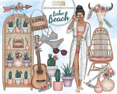 Boho beach home clipart