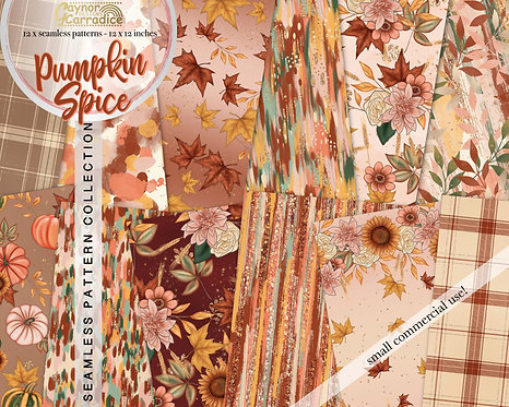 Pumpkin Spice abstract and floral seamless pattern coll