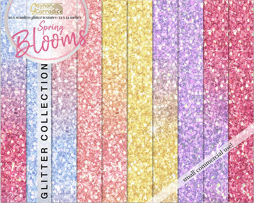Spring Blooms- pastel glitter backgrounds collection