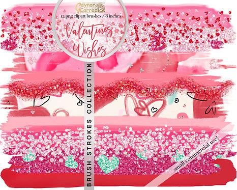 Valentines wishes brush strokes
