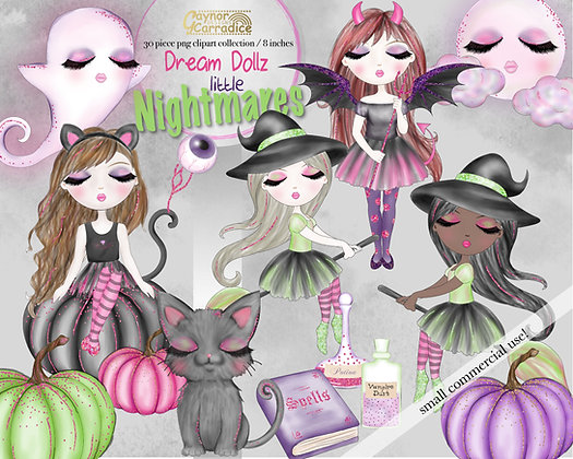 Dream Dollz Halloween nightmares clipart collection