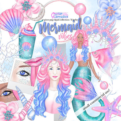 Mermaid Vibes Fashion Clipart Collection