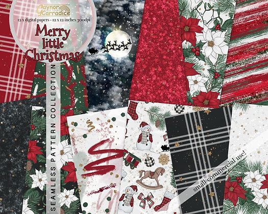 Merry little Christmas digital seamless papers