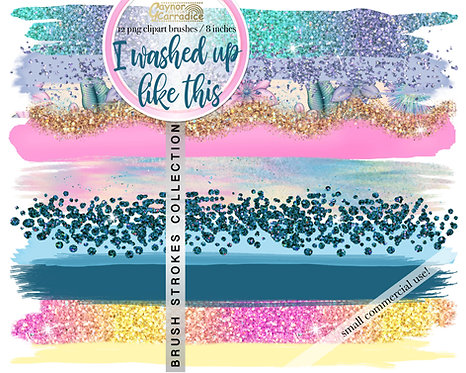 I washed up like this -  Mermaid Brush Strokes clipart collection