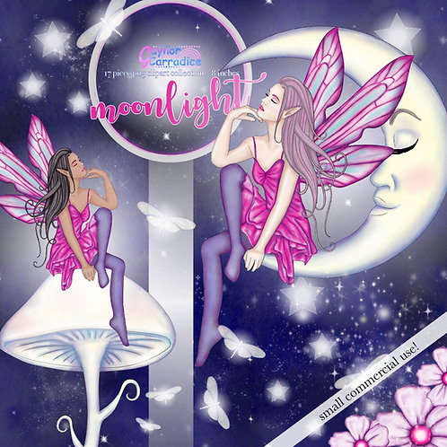 Moonlight fairy Clipart Collection