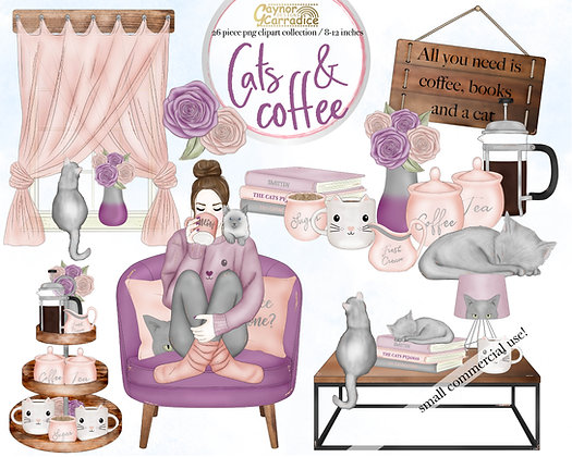 Cats and Coffee clipart collection