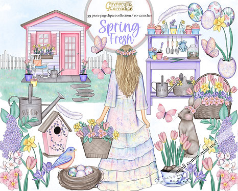 Spring Fresh Watercolor Clipart