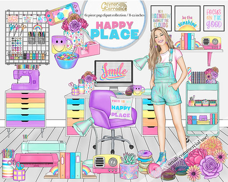Happy place rainbow clipart