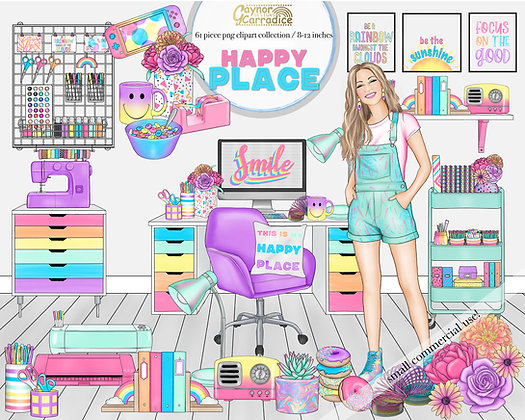 Happy place rainbow clipart