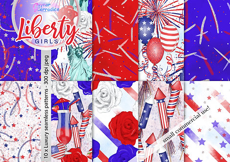 4th July fashion digital paper collection