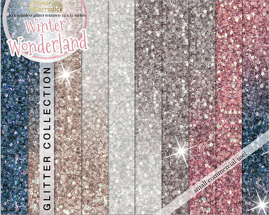 Winter glitter digital paper collection