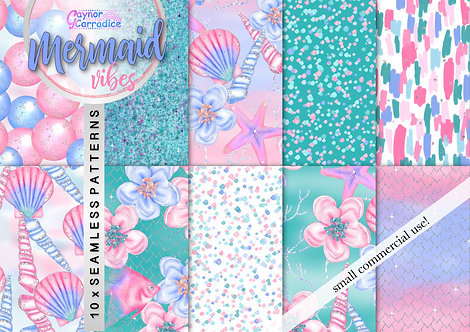 Mermaid Vibes digital paper collection