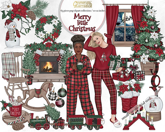 Merry little Christmas watercolor clipart