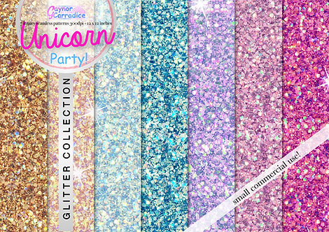 Unicorn Party glitter digital paper collection