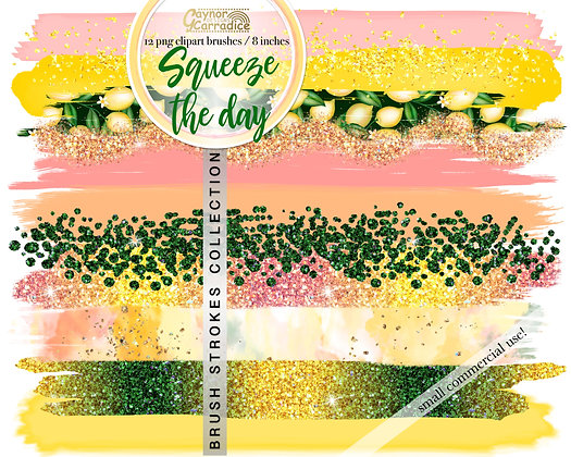 Squeeze the day -  Lemon Brush Strokes clipart collection