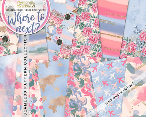Where to next? - Travel abstract and floral seamless pattern coll