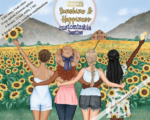 Summer Besties Customizable Clipart