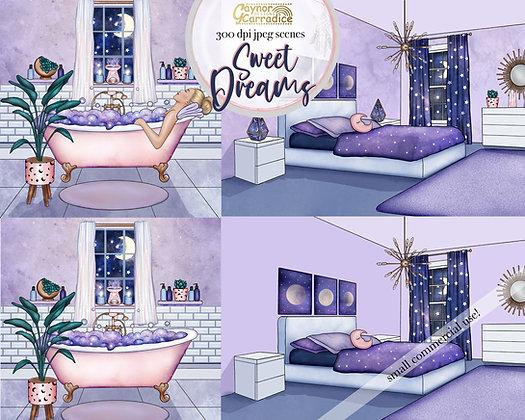 Sweet Dreams Clipart Scenes