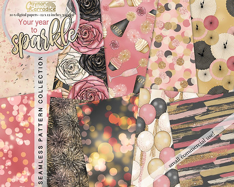 You Year to Sparkle - New year seamless pattern collection