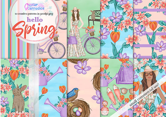 Spring fashion digital paper collection