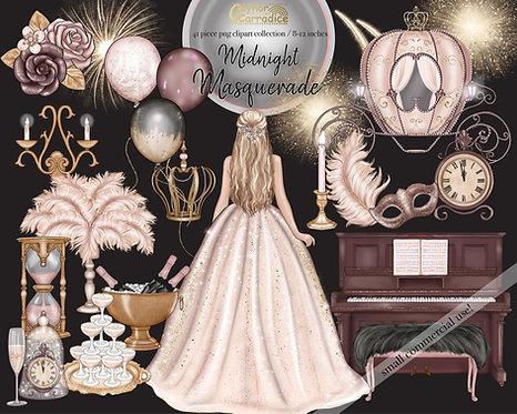 Midnight masquerade watercolor clipart