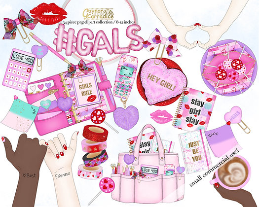 Gals - valentines planner clipart collection