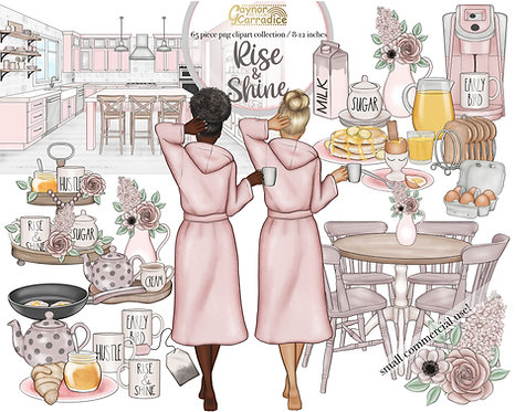 Rise and shine watercolor clipart