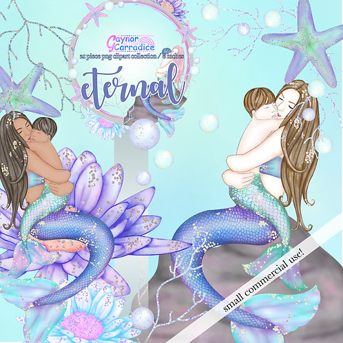 'Eternal' Mothers Day Mermaid Clipart, boy version