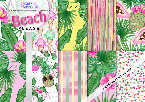 Summer beach fashion digital paper collection