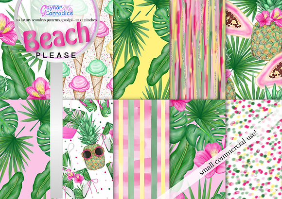 Summer beach fashion digital paper collection