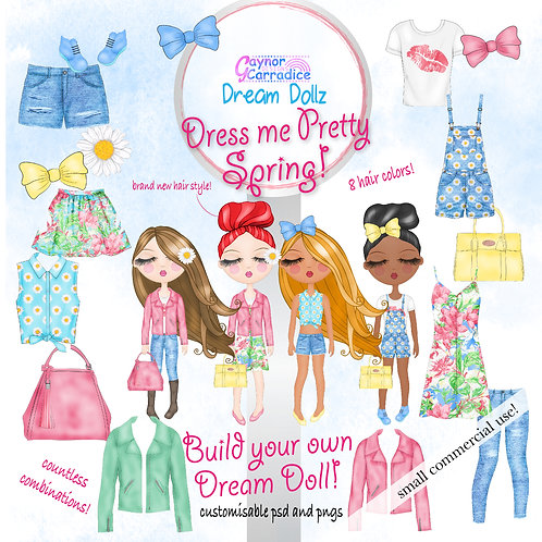 Dream Dollz, cute girl clipart collection, Dress me Pretty Spring