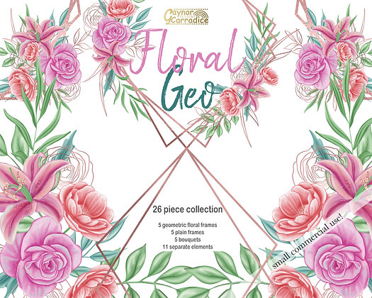 Floral Geometric frames and bouquets