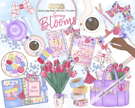 Spring Blooms planner clipart collection