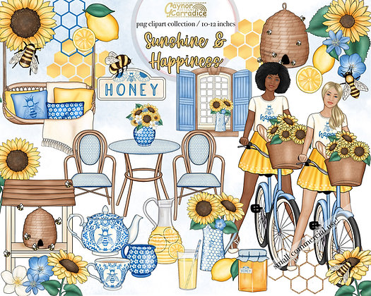 Sunshine and Happiness Watercolor Clipart