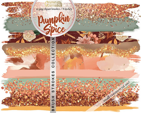 Pumpkin Spice brush strokes clipart collection