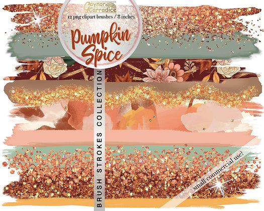 Pumpkin Spice brush strokes clipart collection