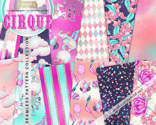 Cirque - circus abstract and floral seamless pattern collection