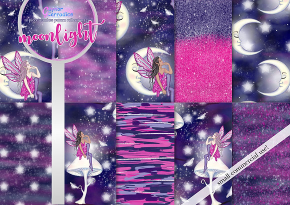 Moonlight fairy digital paper collection