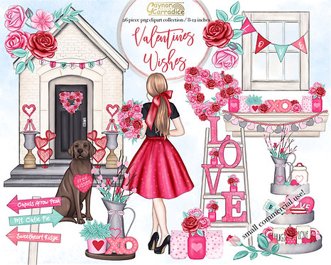 Valentines wishes watercolor clipart